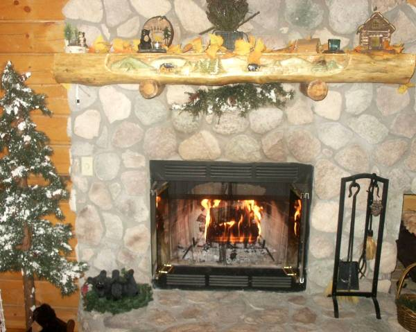 Beautiful Stone wood burning fireplace